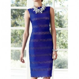 Vintage Sleeveless Solid Color Hollow Out Dress For Women