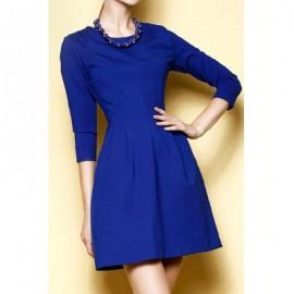 Vintage Solid Color Jewel Neck Long Sleeves Dress For Women