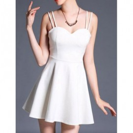 Vintage Spaghetti Strap Solid Color A-Line Dress For Women