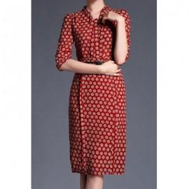Vintage Stand Collar Half Sleeves Print Slit Dress For Women