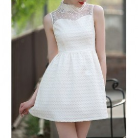 Vintage Stand Collar Sleeveless Jacquard Voile Splicing Dress For Women
