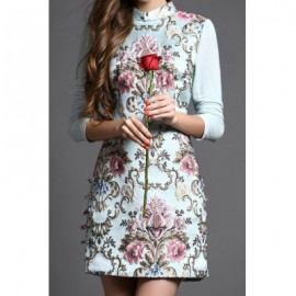 Vintage Stand-Up Collar Long Sleeves Embroidered Dress For Women