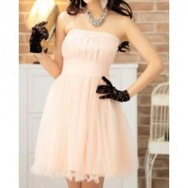 Vintage Strapless Solid Color Voile Splicing Belt Prom Dress For Women