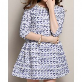 Vintage Style Round Neck 3/4 Sleeve Studded Women's Dress