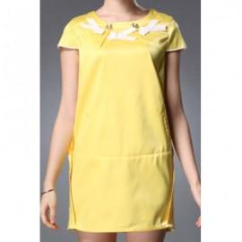 Vintage Style Scoop Neck Short Sleeve Spliced Women's Dress