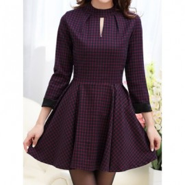Vintage Style Stand Collar Checked Print Hollow Out Long Sleeve Women's Dress