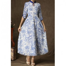 Vintage Style Stand Collar Floral Print Half Sleeve Maxi Dress For Women