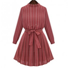 Vintage Style Stand Collar Printed Lace-Up Long Sleeve Dress For Women