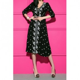 Vintage Style V-Neck Floral Embroidery 3/4 Sleeve Women's Dress