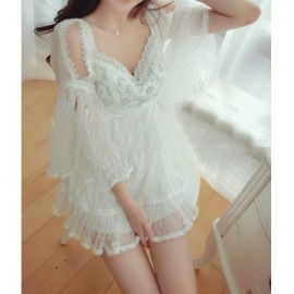 Vintage Sweetheart Neck Flare Sleeves Voile Splicing White Lace Dress For Women