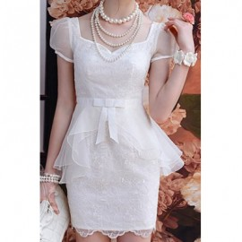 Vintage Sweetheart Neck Short Sleeves Voile Splicing Dress For Women