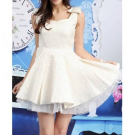 Vintage Sweetheart Neck Sleeveless Bowknot Voile Splicing Dress For Women