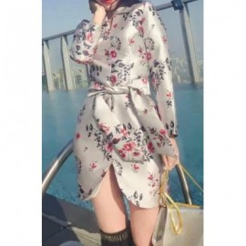 Vintage V-Neck Long Sleeve Floral Print Lace-Up Asymmetrical Women's Dress