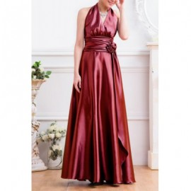 Vintage V-Neck Solid Color Handmade Rose Pleated Long Prom Dress For Women