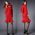 Vintage Bow Collar Long Sleeves Flounce Red Dress For Women