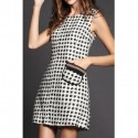 Vintage Capelet and Jewel Neck Sleeveless Pocket Splicing Dress For Women