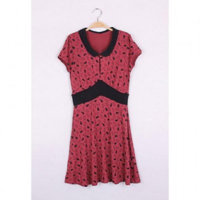 Vintage Cute Bunny Print Narrow Waist Short Sleeve Women's Summer Dress