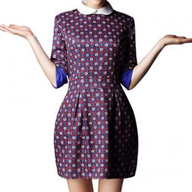 Vintage Doll Collar Color Matching Printing Half Sleeve Women's Dress