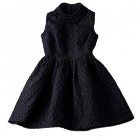 Vintage Faux Pearl Collar Sleeveless Women's Jacquard Dress