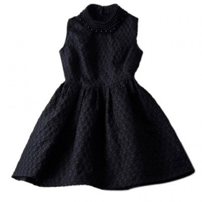 Vintage Faux Pearl Collar Sleeveless Women's Jacquard Dress