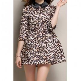 Vintage Flat Collar 3/4 Sleeve Leopard Print Women's Dress