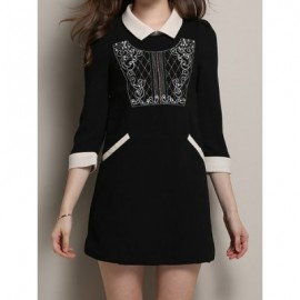 Vintage Flat Collar 3/4 Sleeves Embroidered Dress For Women