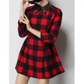 Vintage Flat Collar 3/4 Sleeves Plaid Dress For Women