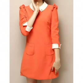 Vintage Flat Collar 3/4 Sleeves Pocket Splicing Dress For Women