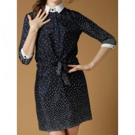 Vintage Flat Collar Half Sleeves Polak Dot Single Breasted Drawstring Dress For Women