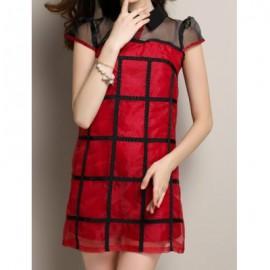 Vintage Flat Collar Short Sleeve Plaid Women's Dress