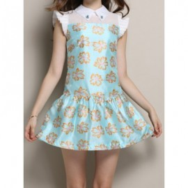 Vintage Flat Collar Short Sleeve Printed Ruched Women's Dress