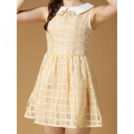 Vintage Flat Collar Sleeveless Plaid Beaded Dress For Women