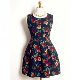 Vintage Flowers Printed Jewel Neck Sleeveless Dress For Women