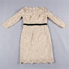 Vintage Jewel Neck 3/4 Length Sleeves Embroidered Dress For Women