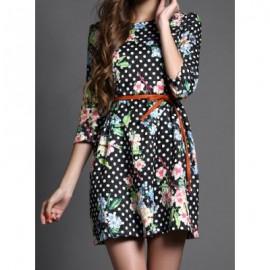 Vintage Jewel Neck 3/4 Length Sleeves Floral Printed Polka Dot Dress For Women