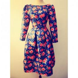 Vintage Jewel Neck 3/4 Length Sleeves Printed Jacquard Dress For Women