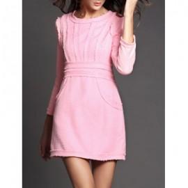 Vintage Jewel Neck 3/4 Length Sleeves Solid Color Dress For Women