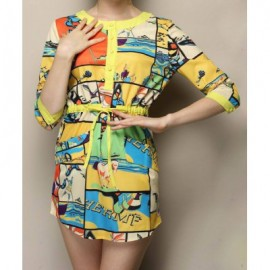 Vintage Jewel Neck 3/4 Sleeves Drawstring Print Single Breasted Dress For Women