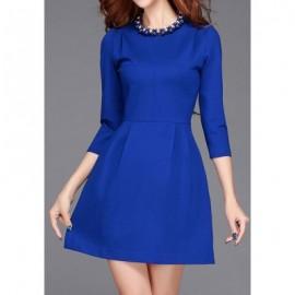 Vintage Jewel Neck 3/4 Sleeves Solid Color Dress For Women