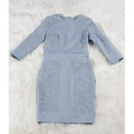 Vintage Jewel Neck 3/4 Sleeves Solid Color Embroidered Dress For Women