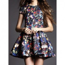 Vintage Jewel Neck Butterfly Printed Short Sleeves Dress For Women