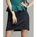 Vintage Jewel Neck Color Splicing Flounce Sleeveless Dress For Women