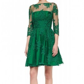 Vintage Jewel Neck Embroidered See-Through 3/4 Sleeves Dress For Women