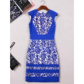 Vintage Jewel Neck Embroidered Sleeveless Zippered Dress For Women
