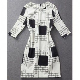 Vintage Jewel Neck Half Sleeves Color Block Plaid Dress For Women