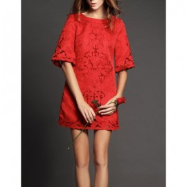 Vintage Jewel Neck Half Sleeves Hollow Out Solid Color Dress For Women