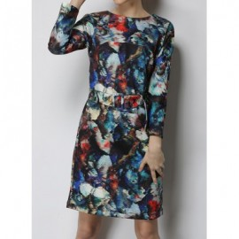 Vintage Jewel Neck Long Sleeves Abstract Print Dress For Women