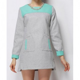 Vintage Jewel Neck Long Sleeves Color Block Pocket Woolen Dress For Women