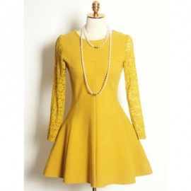 Vintage Jewel Neck Long Sleeves Lace Splicing Woolen Dress For Women