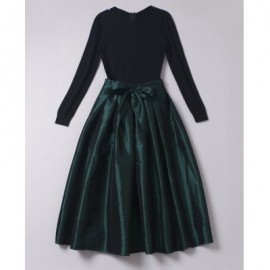 Vintage Jewel Neck Long Sleeves Pleated Bowknot Long Dress For Women